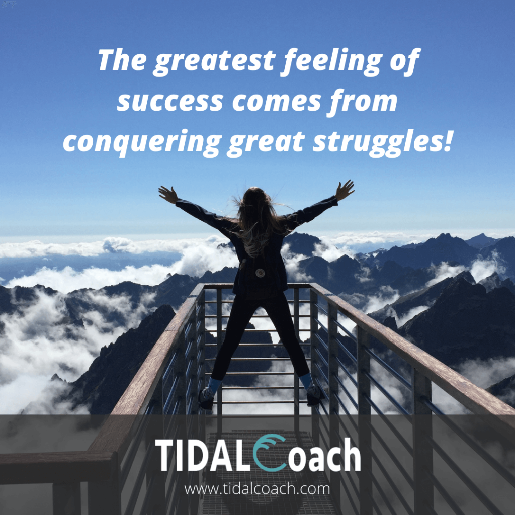 Business owner jumping for joy while on vacation after overcoming a struggle in business, quote about overcoming challenges.