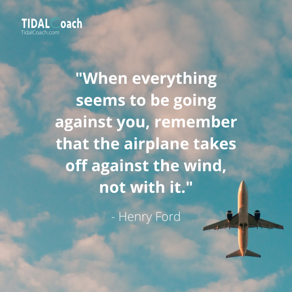 """Quote from Henry Ford about overcoming business challenges: """"When everything seems to be going against you, remember that the airplane takes off against the wind, not with it."""""""