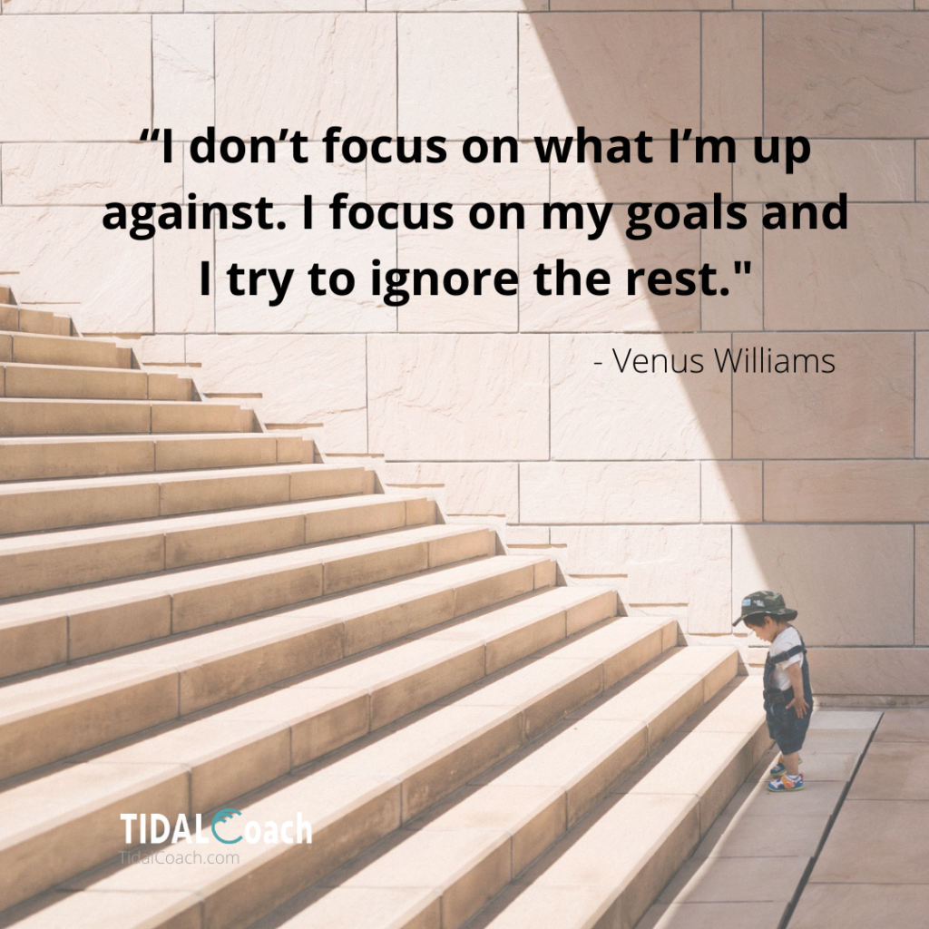 Quote from Venus Williams about focusing on goals instead of obstacles.
